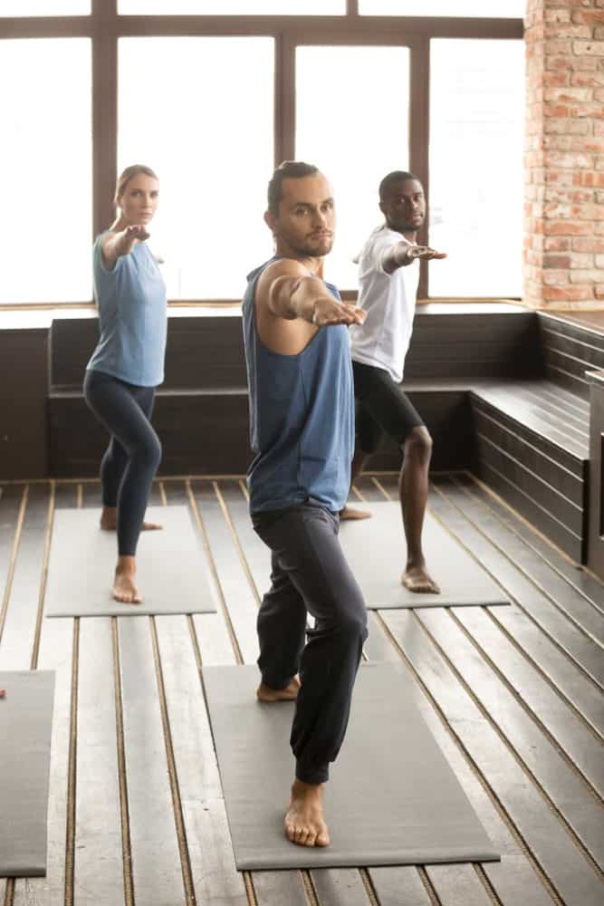 I like the wood built-in bench in this yoga studio.
