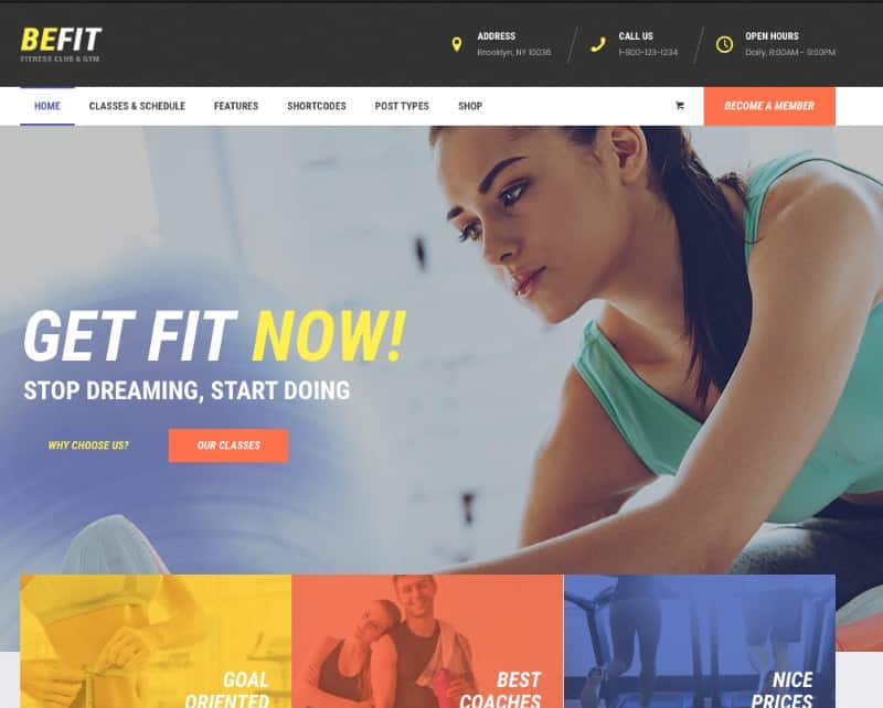 BeFit theme for yoga studio websites