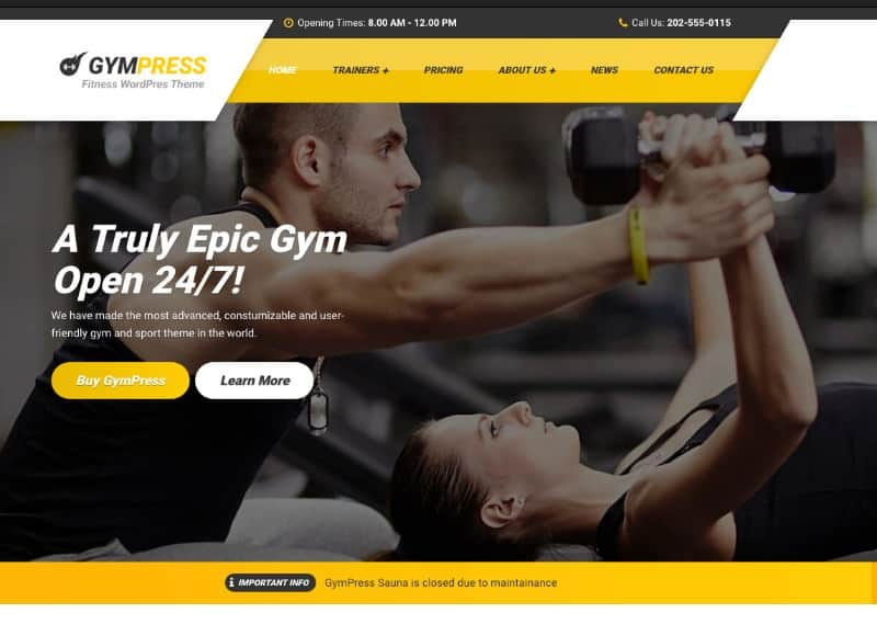 Gympress theme for yoga studios