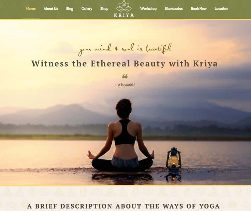 Kriya yoga theme for yoga studios