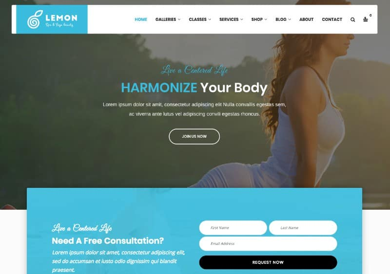 Lemon Yoga wp theme for yoga studios