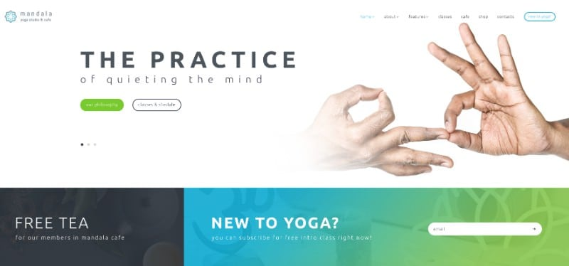 Mandala wp theme for yoga studio websites and blogs