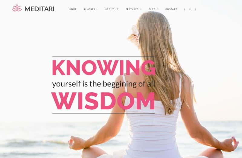 Meditari wordpress theme for yoga studios and teachers