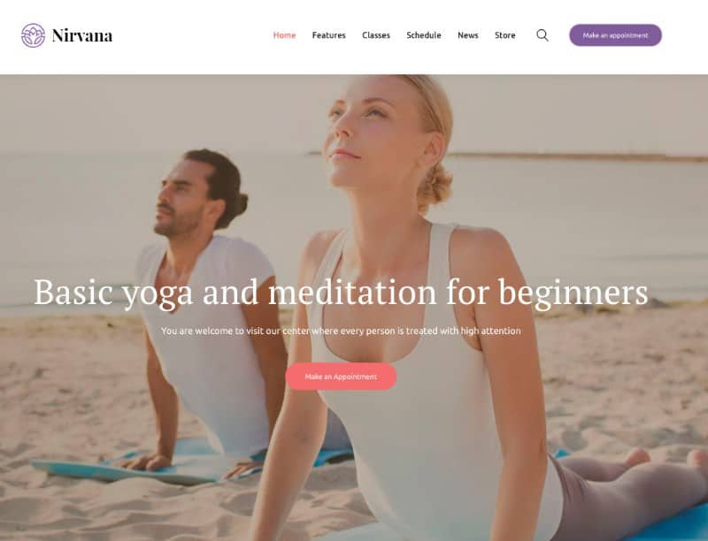 Nirvana wp theme for yoga studios