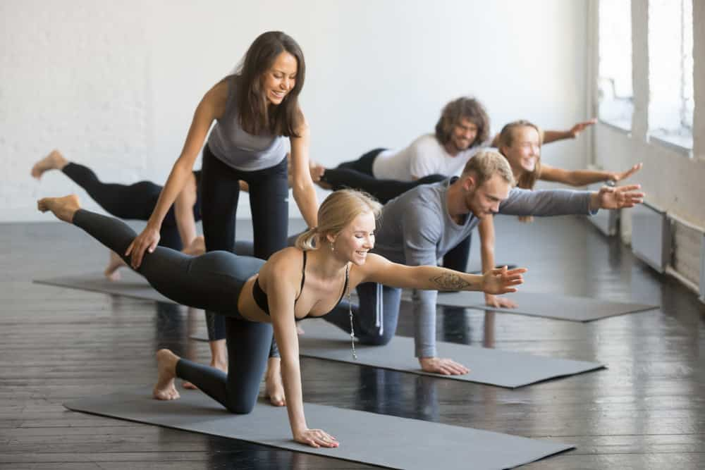 yoga students in class