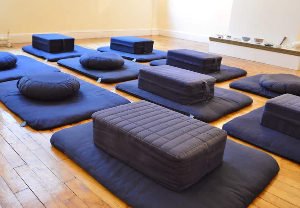 Yoga studio with meditation pillows