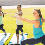 Yoga trainer in blue shirt