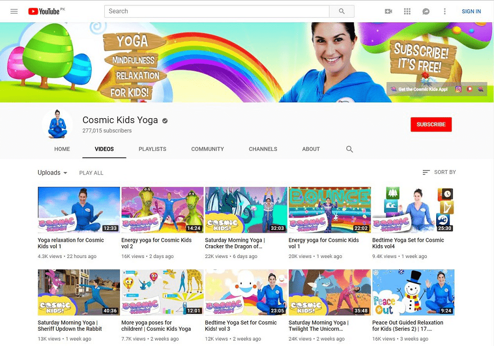 Cosmic kids Yoga yoga YouTube home page showing multiple videos
