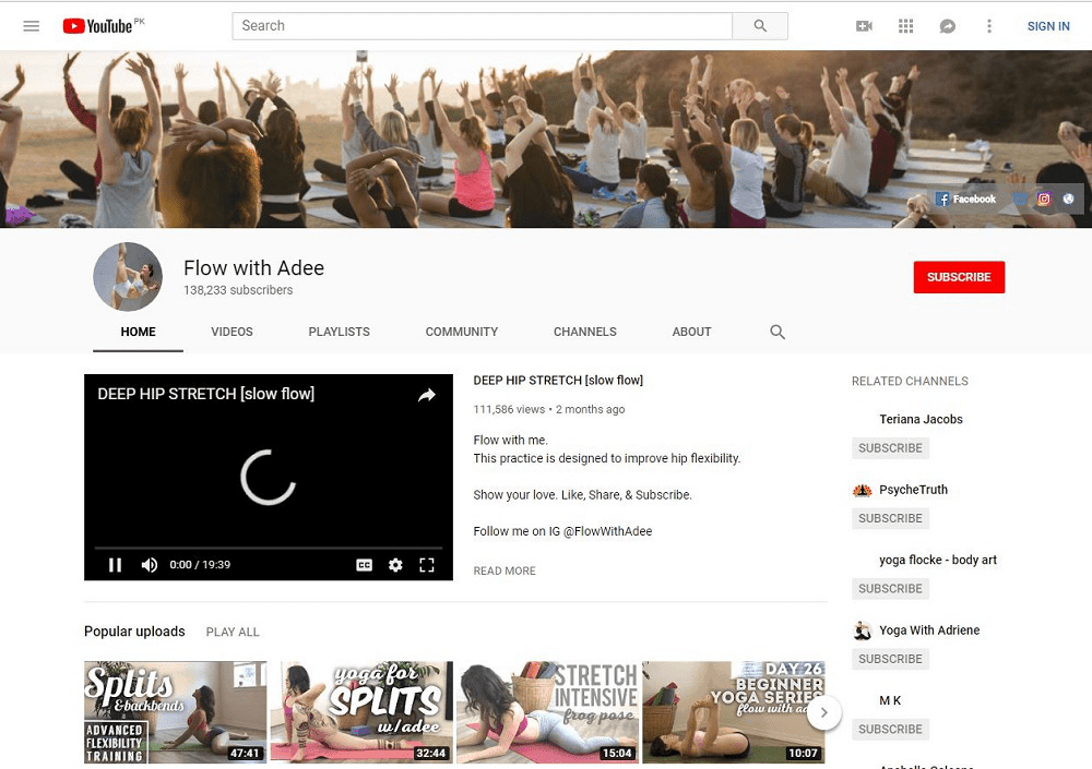 Flow With Adee yoga YouTube home page showing multiple videos