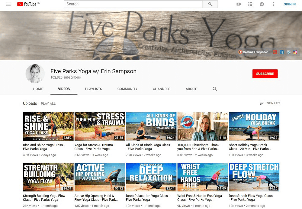 Five Park Yoga yoga YouTube home page showing multiple videos