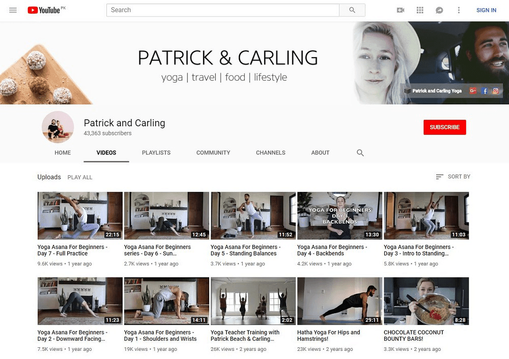Patrick and Carling yoga YouTube home page showing multiple videos