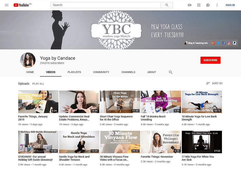 Yoga By Candace yoga YouTube home page showing multiple videos
