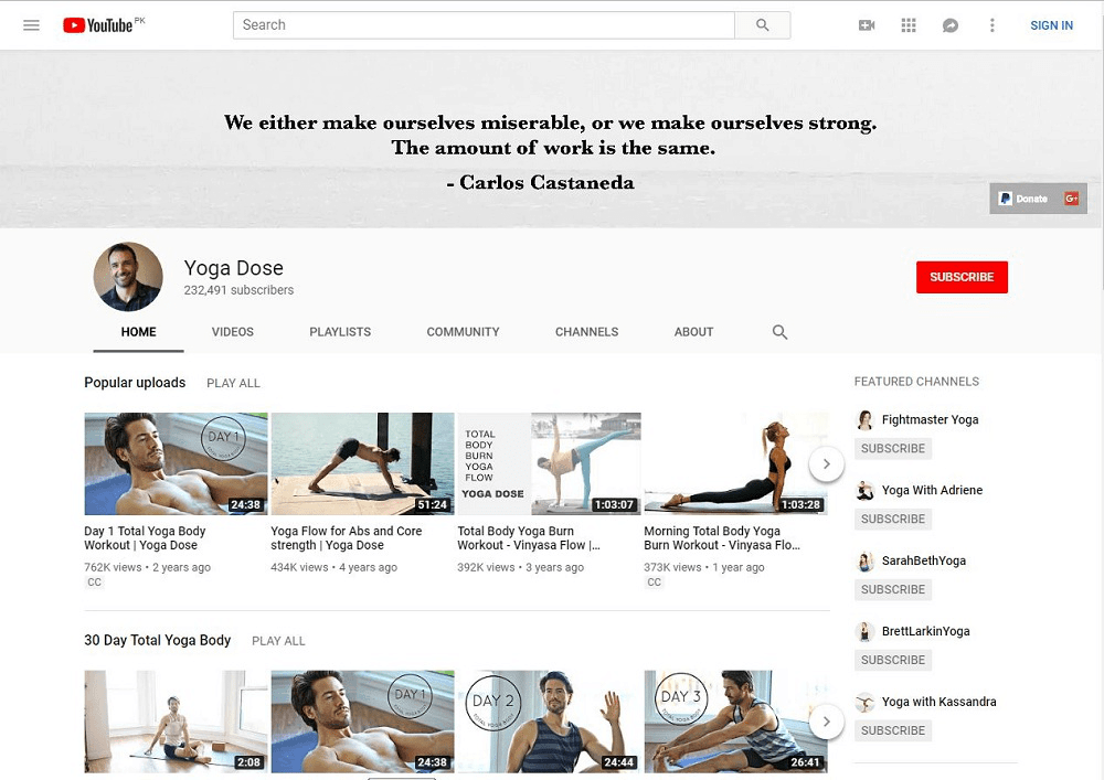 Yoga With Tim yoga YouTube home page showing multiple videos