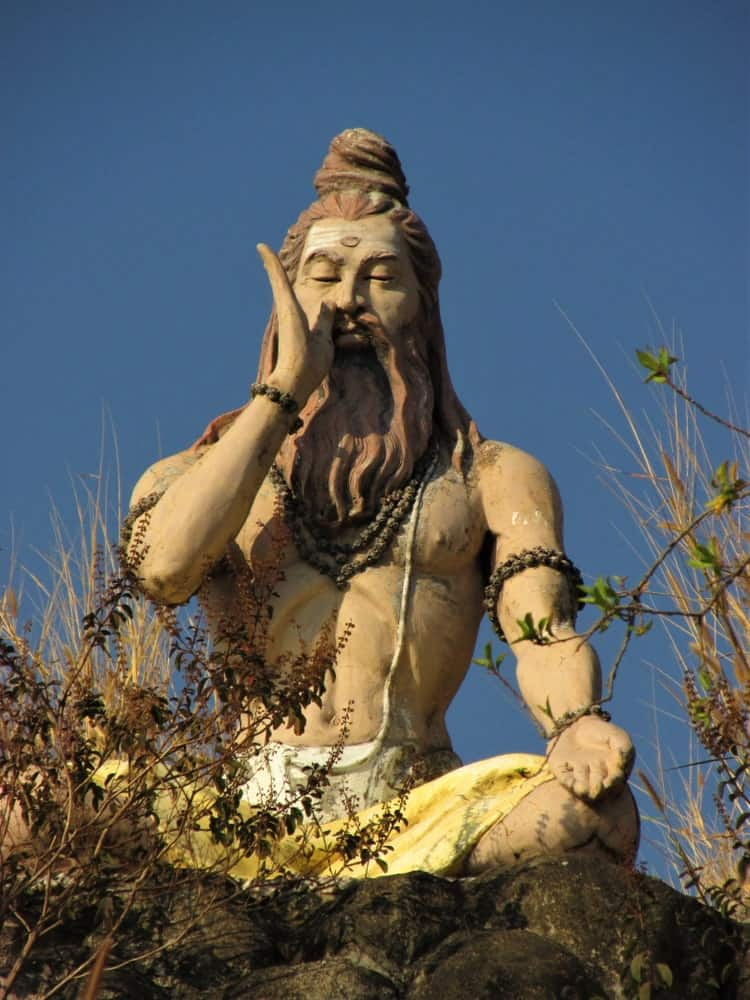 A statue of yogue in India