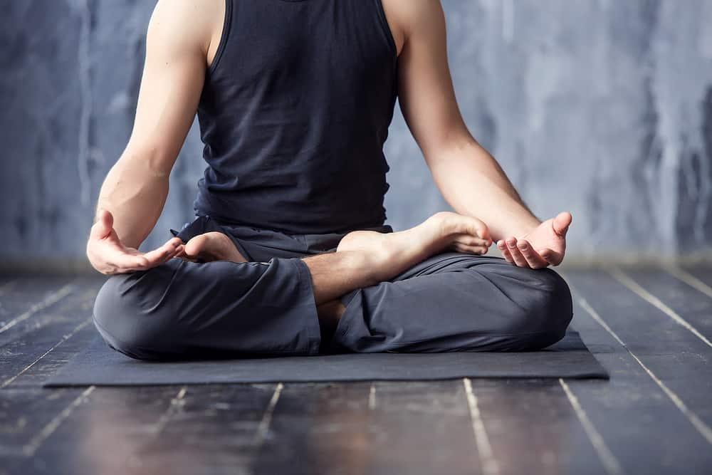 Man Wearing Dark Grey Yoga Pants