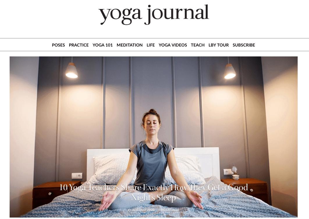 capture d'écran du site Web du journal de yoga
