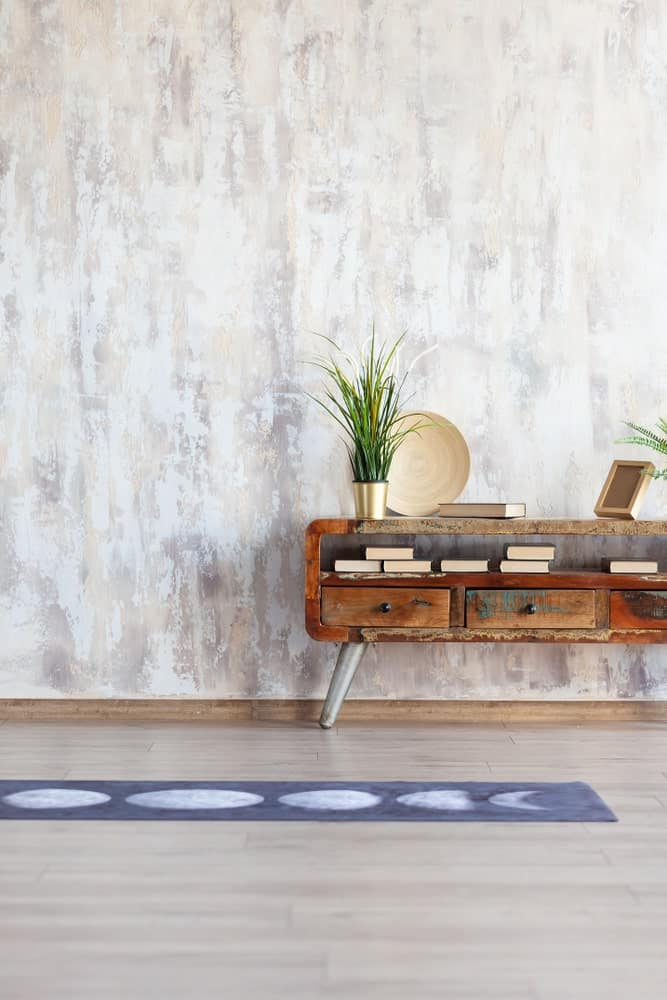 Yoga mat used for aesthetics in a home