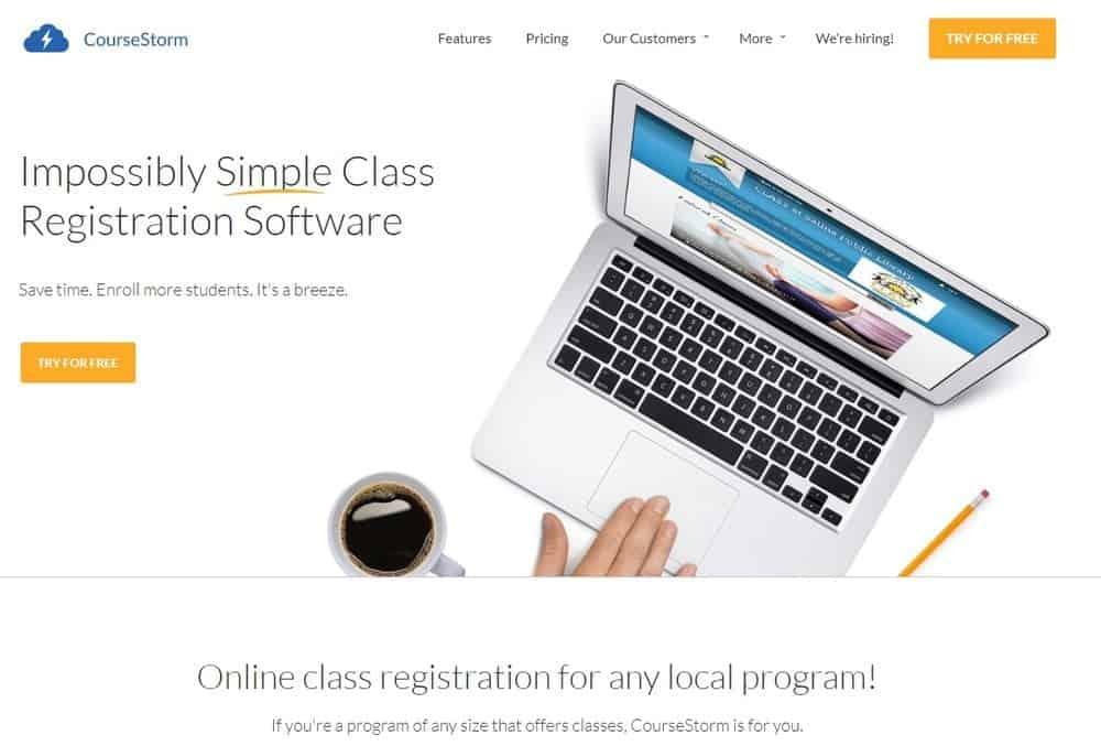 Screenshot of the yoga studio software CourseStorm.