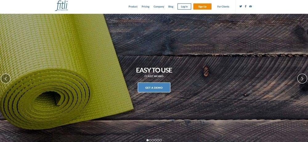 Screenshot of the yoga studio software Fitli Yoga.