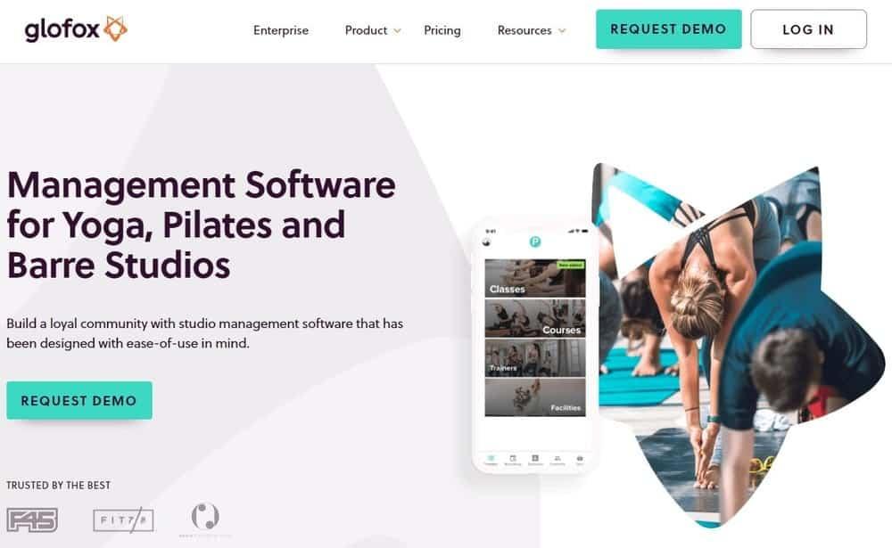 Screenshot of the yoga studio software Glofox Yoga.
