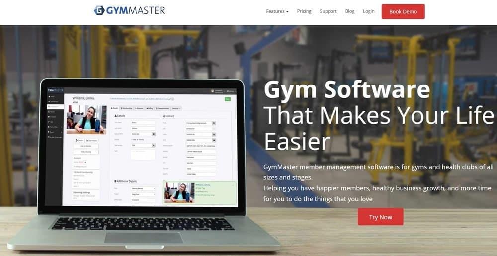 Screenshot of the yoga studio software GymMaster.