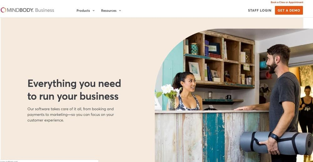Screenshot of the yoga studio software MINDBODY.
