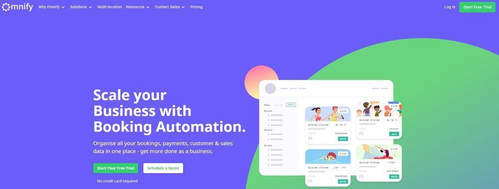 Screenshot of the yoga studio software Omnify.
