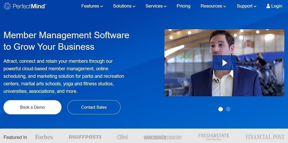 Screenshot of the yoga studio software PerfectMind.