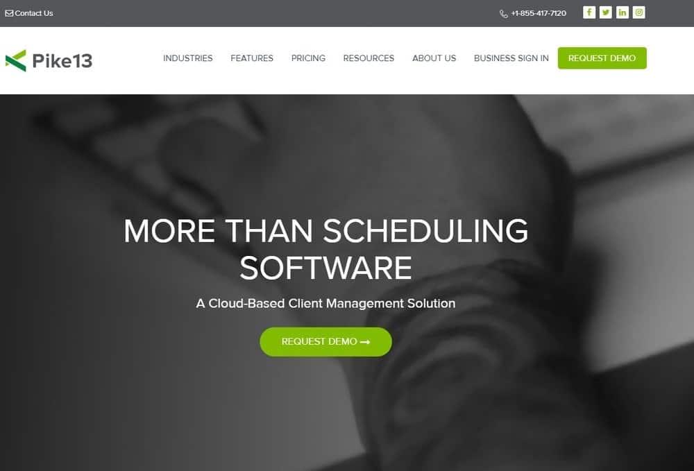 Screenshot of the yoga studio software Pike13.