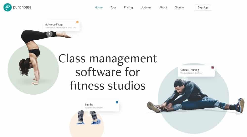 Screenshot of the yoga studio software Punchpass.