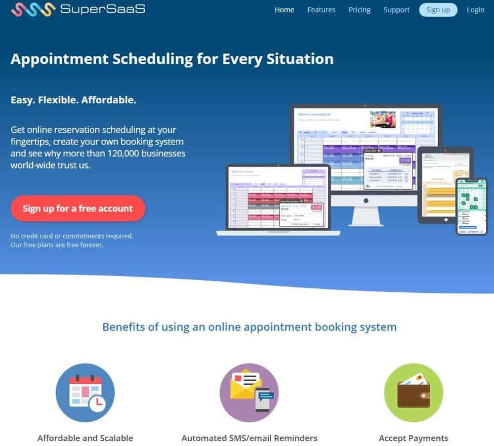 Screenshot of the yoga studio software SuperSaas.