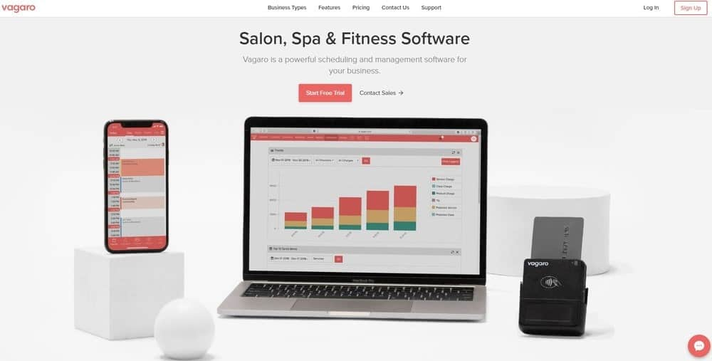 Screenshot of the yoga studio software Vagaro.