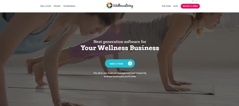 Screenshot of the yoga studio software WellnessLiving.