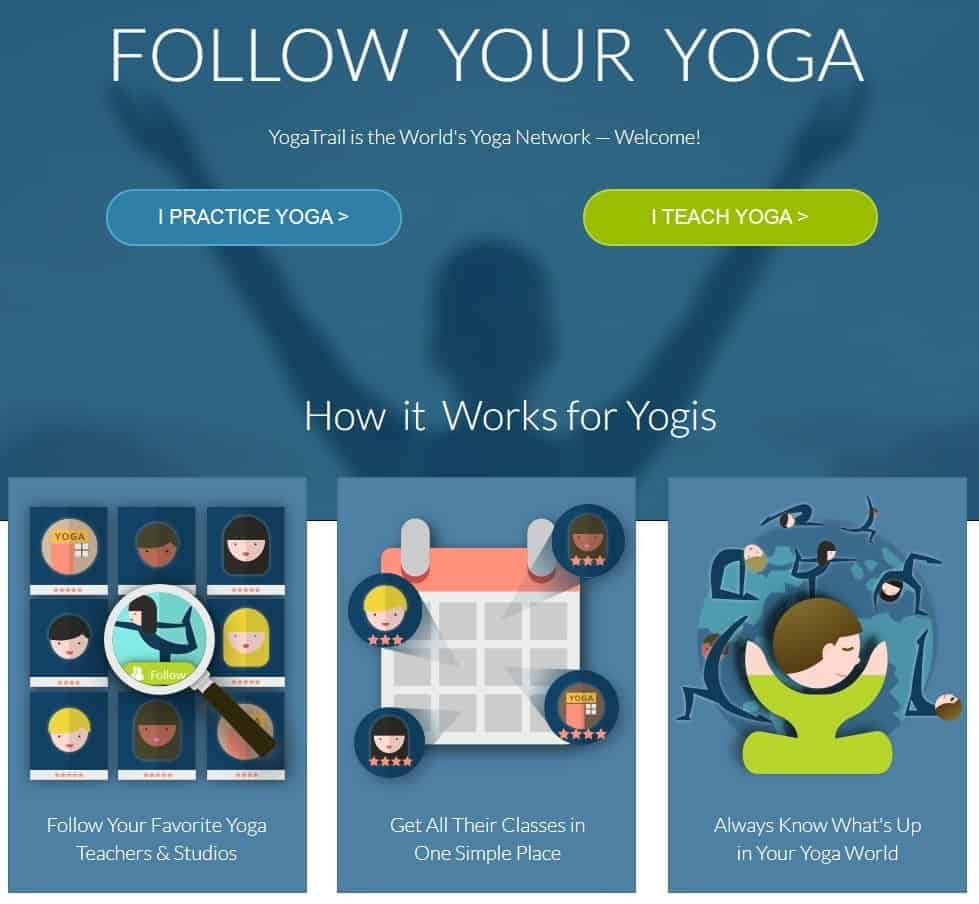 Screenshot of the yoga studio software Yoga Trail.