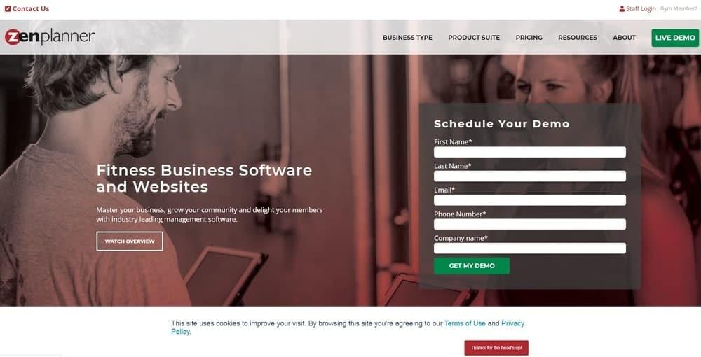 Screenshot of the yoga studio software Zen Planner.