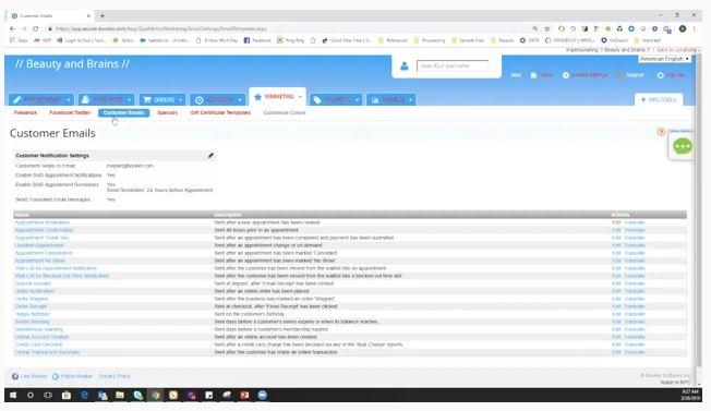 Screenshot of MINDBODY Software Customer Emails