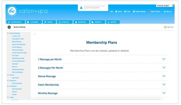 Screenshot of MINDBODY Software Membership Plans