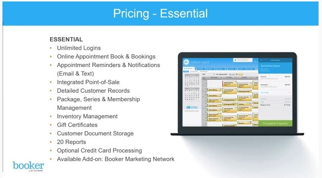 Screenshot of MINDBODY Software Pricing - Essential