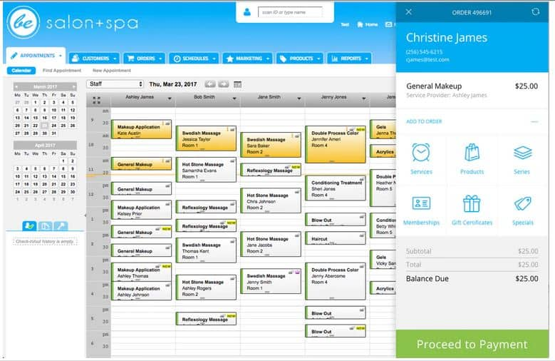 Screenshot of MINDBODY Software Appointments