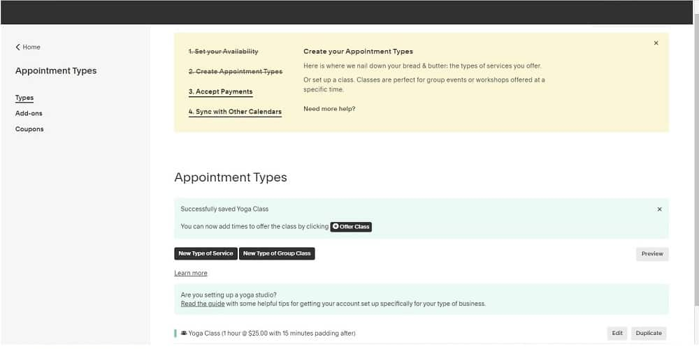 Screenshot of Acuity appointment types