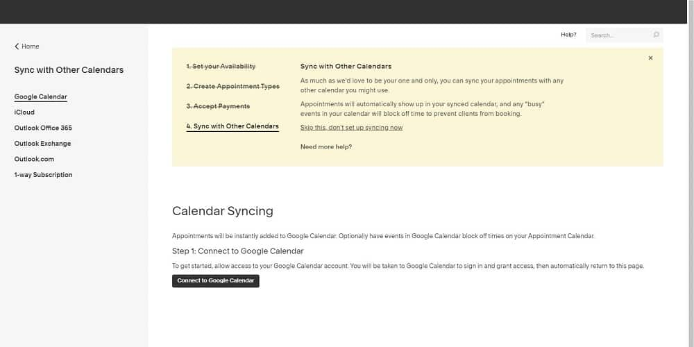 Screenshot of Acuity calendar sync