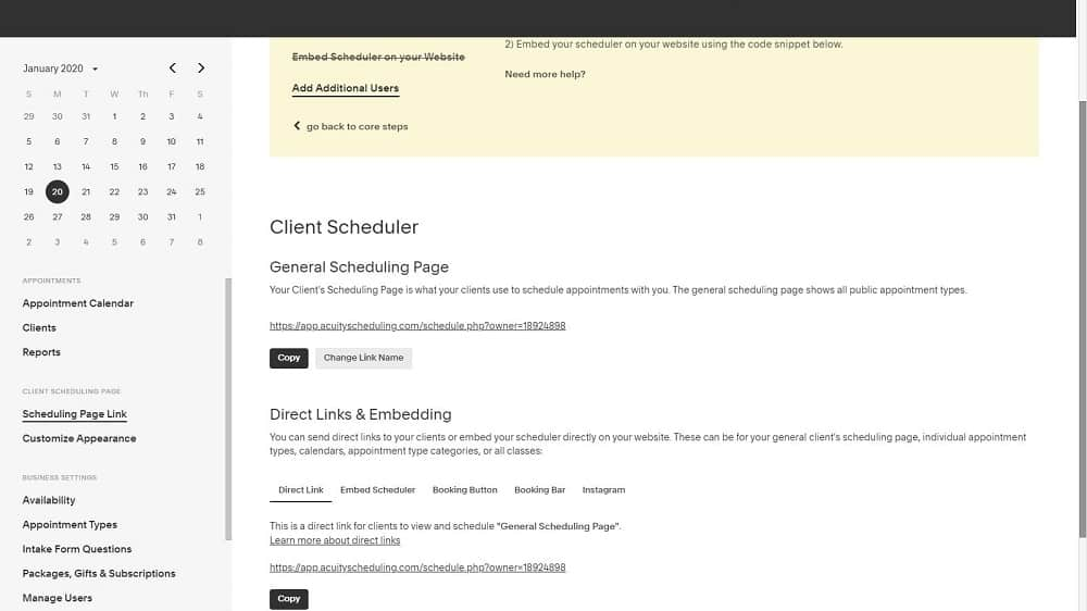 Screenshot of Acuity embed scheduler
