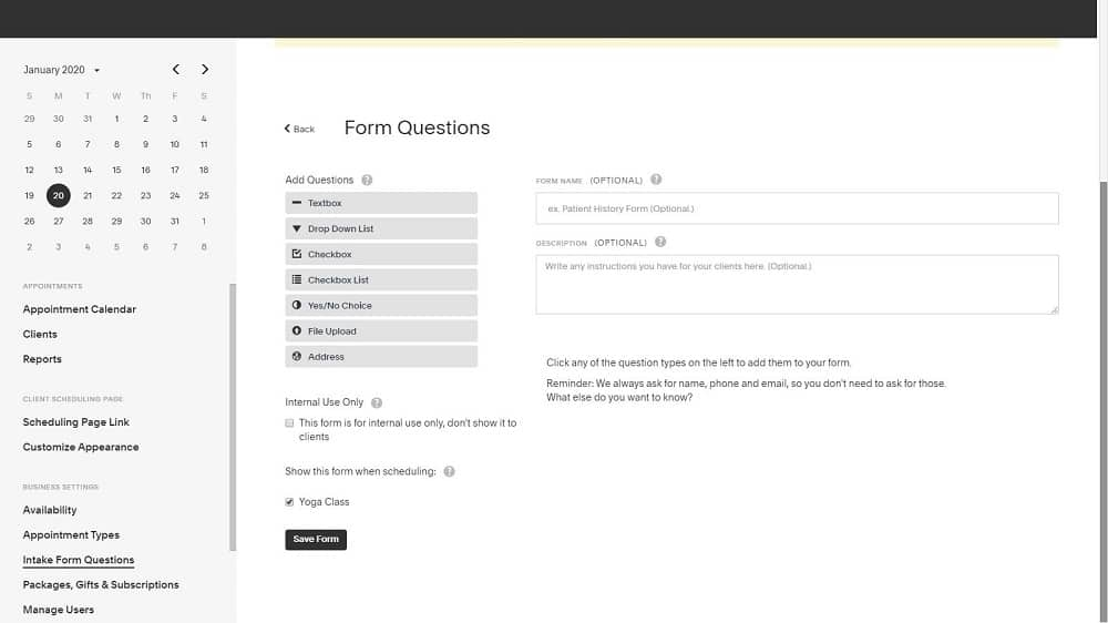 Screenshot of Acuity intake form