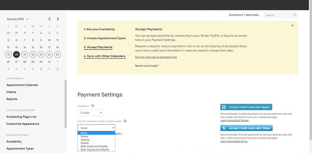 Screenshot of Acuity payments
