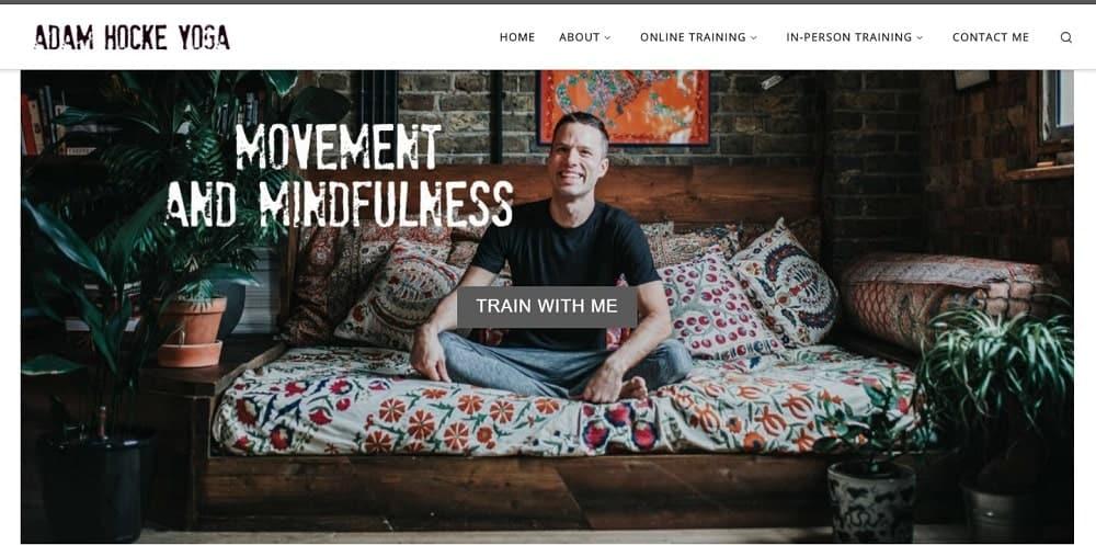 Screenshot of the site homepage for Adam Hocke Yoga.