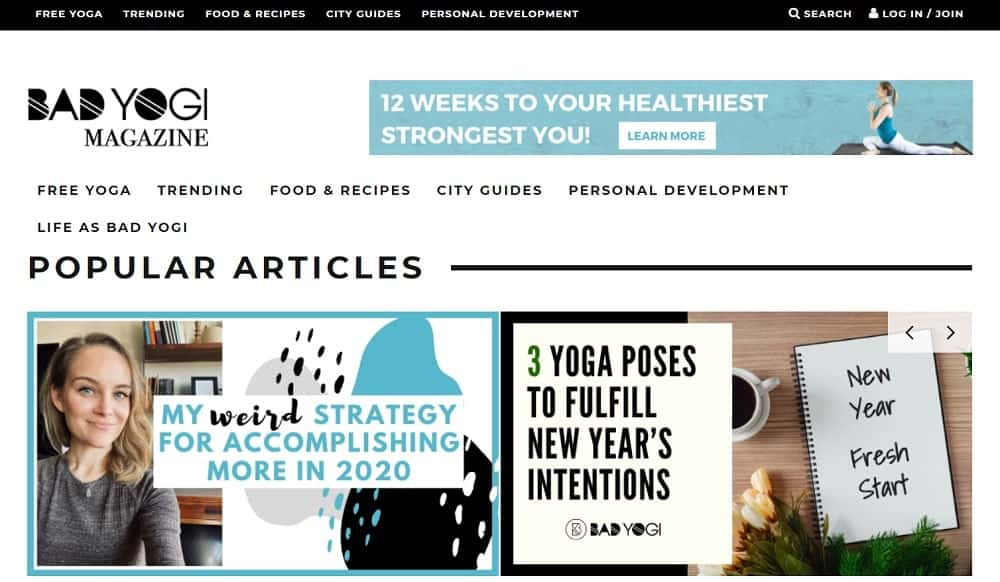 Screenshot of the site homepage for Bad Yogi Magazine.