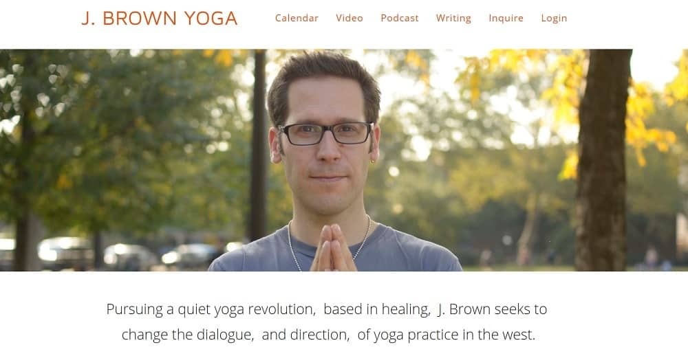 Screenshot of the site homepage for J Brown Yoga.