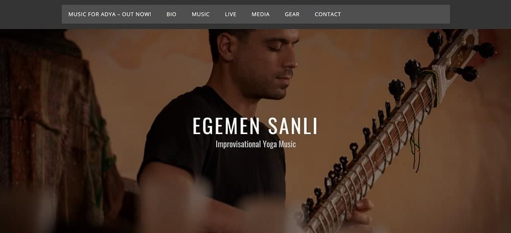 Screenshot of the site homepage for Live Yoga Jams.