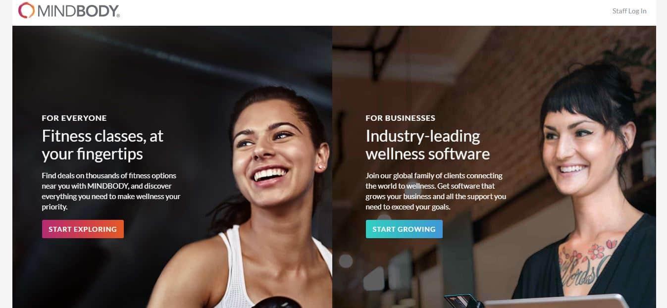 Screenshot of MINDBODY software site homepage.