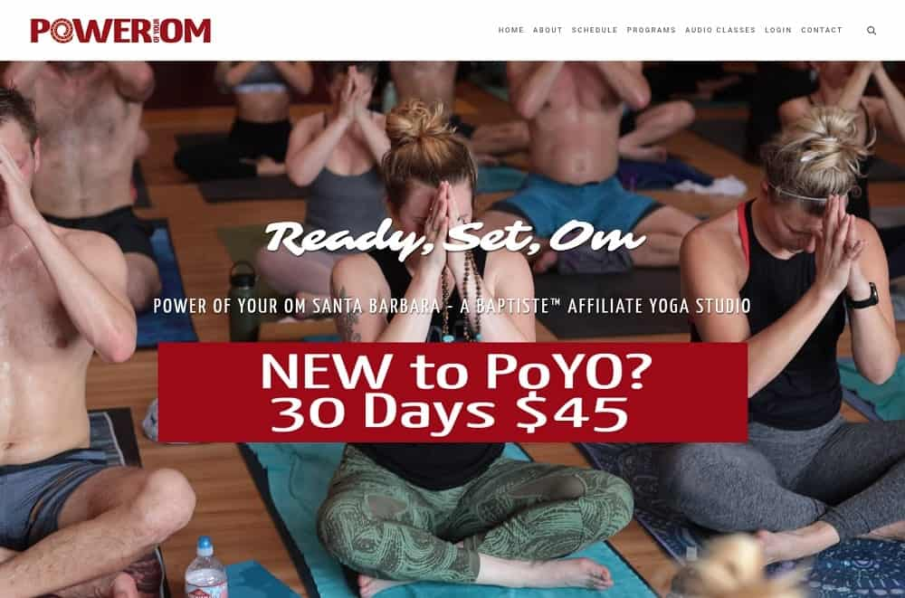 Screenshot of the site homepage for Power Of Your OM Santa Barbara.